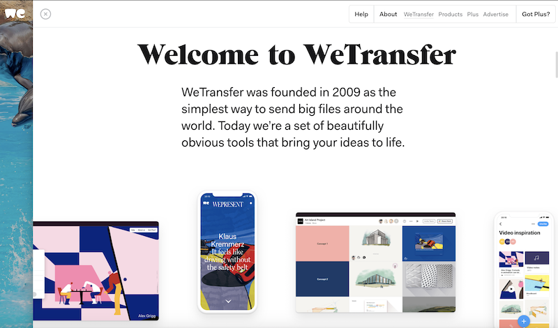 WeTransfer, a good User experience website
