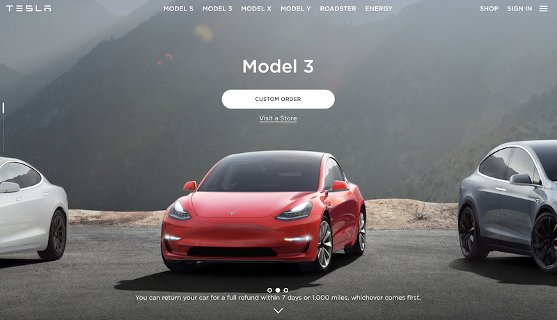 Tesla, a good User experience website