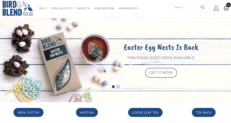 Bird and Blend Tea, a good User experience website