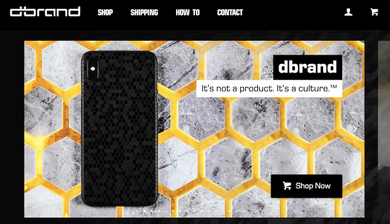 D Brand, a good User experience website