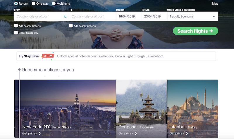 Skyscanner, a good User experience website