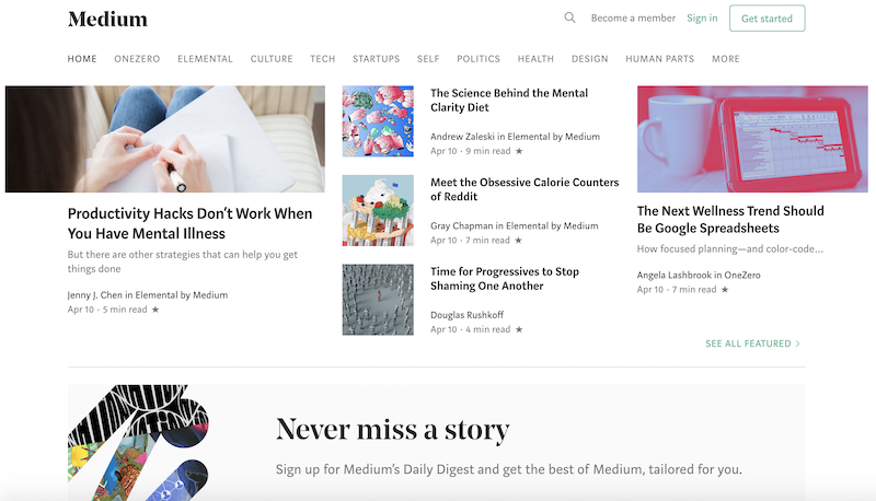 Medium, a good User experience website